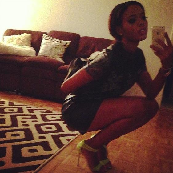 Simmons- Instagram- Topshop-Flower Print-Leather -Look -T-Shirt- Dress-3