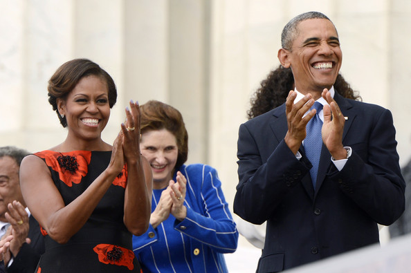 Michelle- Obama- March-on- Washington- 50th- Anniversary- Tracy-Reese- Embellished- Flared-Frock-2