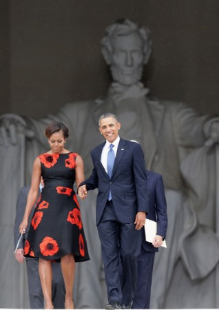 Michelle- Obama- March-on- Washington- 50th- Anniversary- Tracy-Reese- Embellished- Flared-Frock-9