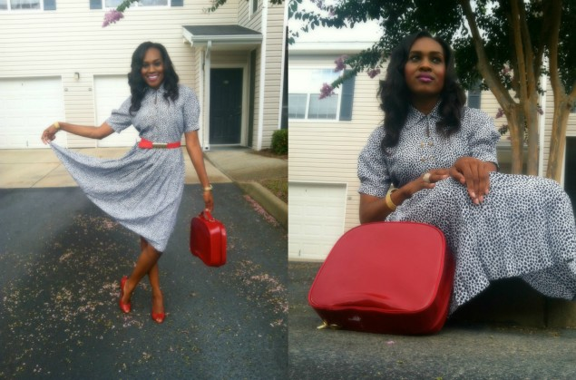 style-files-with-pretty-price-Thrifted-White- and-Blue-Polka-Dot- Schrader-Petite-Pleated-Shirt-Dress-and-Red-BCBG-Peep-toe-Pumps-6