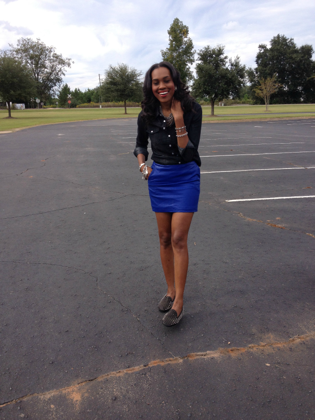 Style- Files- with- PrettyPrice-Forever-21- Denim-Shirt-Blue-Faux -Leather-Mini-Skirt -and-Unif-Spiked Loafers-13