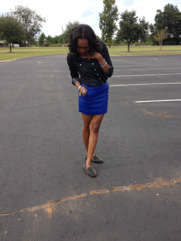 Style- Files- with- PrettyPrice-Forever-21- Denim-Shirt-Blue-Faux -Leather-Mini-Skirt -and-Unif-Spiked Loafers-3
