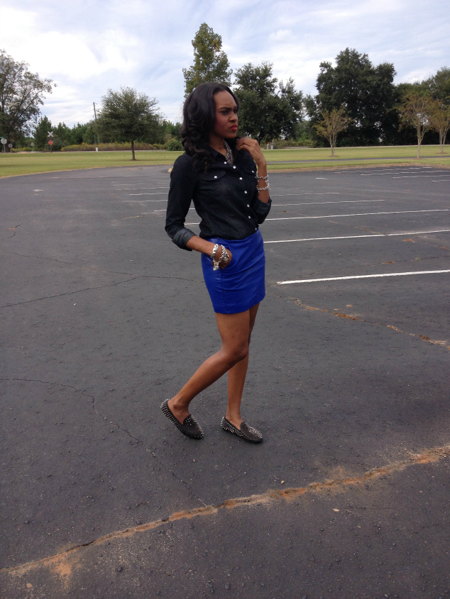 Style- Files- with- PrettyPrice-Forever-21- Denim-Shirt-Blue-Faux -Leather-Mini-Skirt -and-Unif-Spiked Loafers-4