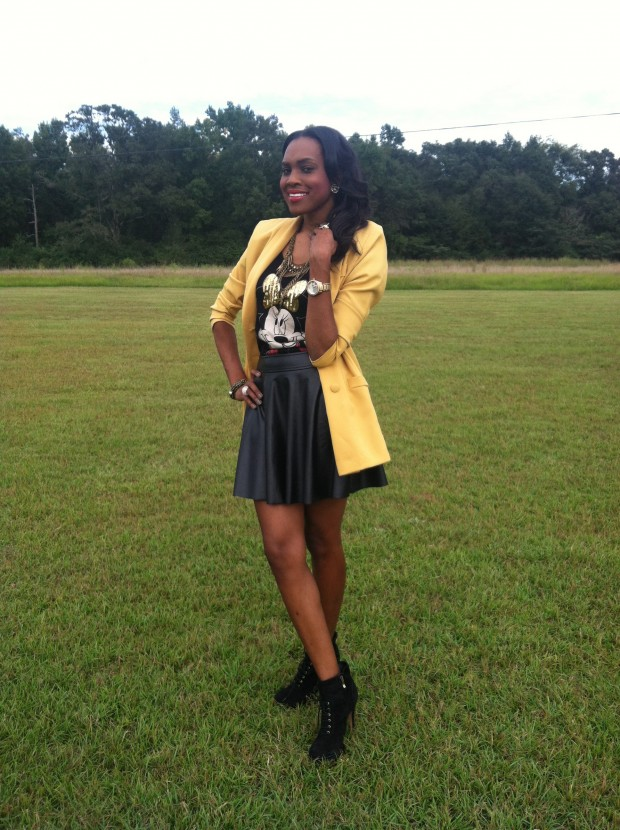Style-Files-with- PrettyPrice-Forever-21- Faux-Leather-Skater- Skirt-Joy-Rich-Minnie- Mouse-Tee-Thrifted- Mustard-Blazer-Sam Edelman-Uma- Booties-