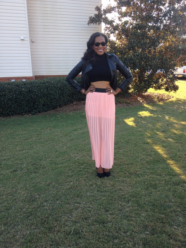 Style-Files-with-PrettyPrice-Jesse and J-Pink-Pleated-Skirt-Forever- 21-Crop-Turtleneck- Leather-Moto-Jacket-Black-Pumps-