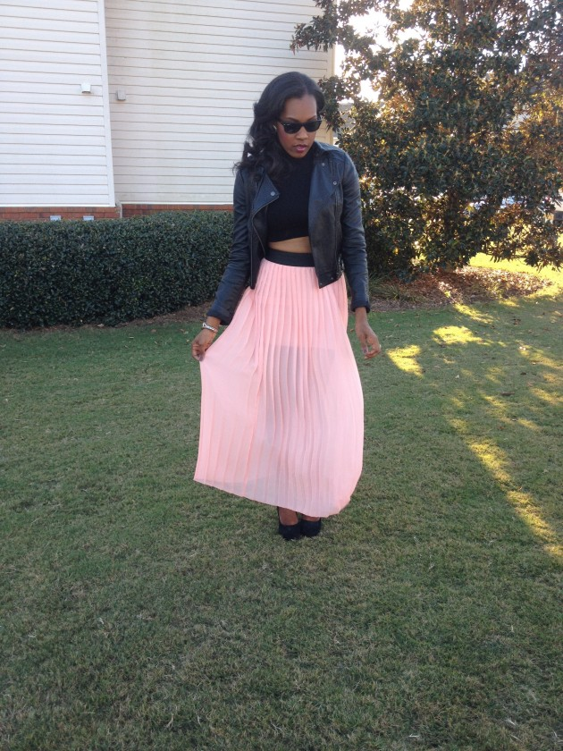 Style-Files-with-PrettyPrice-Jesse and J-Pink-Pleated-Skirt-Forever- 21-Crop-Turtleneck- Leather-Moto-Jacket-Black-Pumps-3