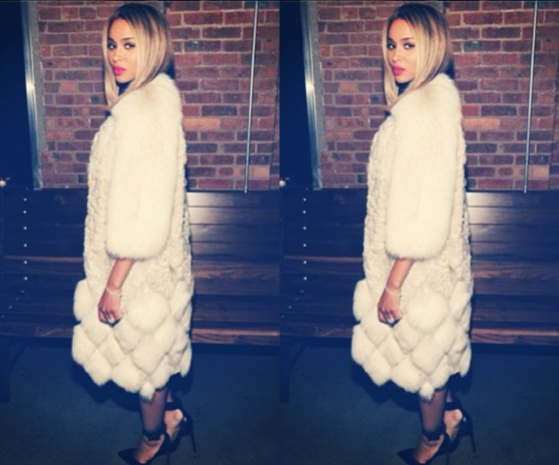Ciara Styles in Long White Fur and Black Pumps at Vogue CFDA Event
