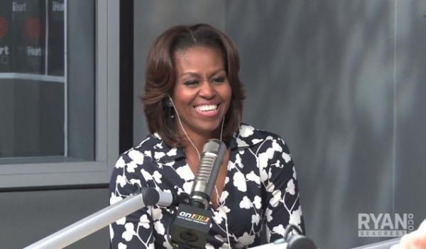 Michelle-Obama-Ryan-Seacrest- Radio-Show-Diane-Von- Furstenberg- Abigail- Wrap-Dress-DVF-Navy-Cream-orchid- print-wrap-dress-2