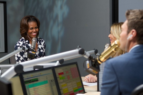 Michelle-Obama-Ryan-Seacrest- Radio-Show-Diane-Von- Furstenberg- Abigail- Wrap-Dress-DVF-Navy-Cream-orchid- print-wrap-dress-3