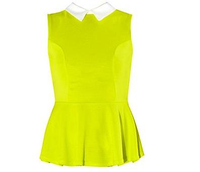Cameo Rose Neon Green Contrast Collar Peplum Top