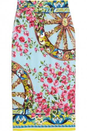 Dolce -Gabbana Printed stretch-silk crepe pencil skirt