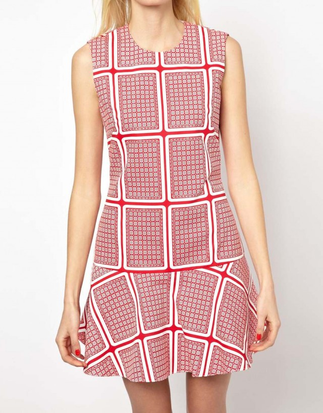Sweet-Treat-of-the-day-Peter- Jensen-Dropped- Waist-Dress-in -Card-Print- Canvas-