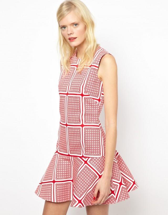 Sweet-Treat-of-the-day-Peter- Jensen-Dropped- Waist-Dress-in -Card-Print- Canvas-3