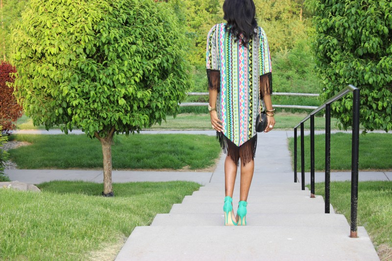 StyleFiles- with-PrettyPrice-Aztec-Fringe-kimono-Just-Fab-Paean - Seafoam-Ankle-Strap-heels-Black-Forever-21-Basc-Dress-