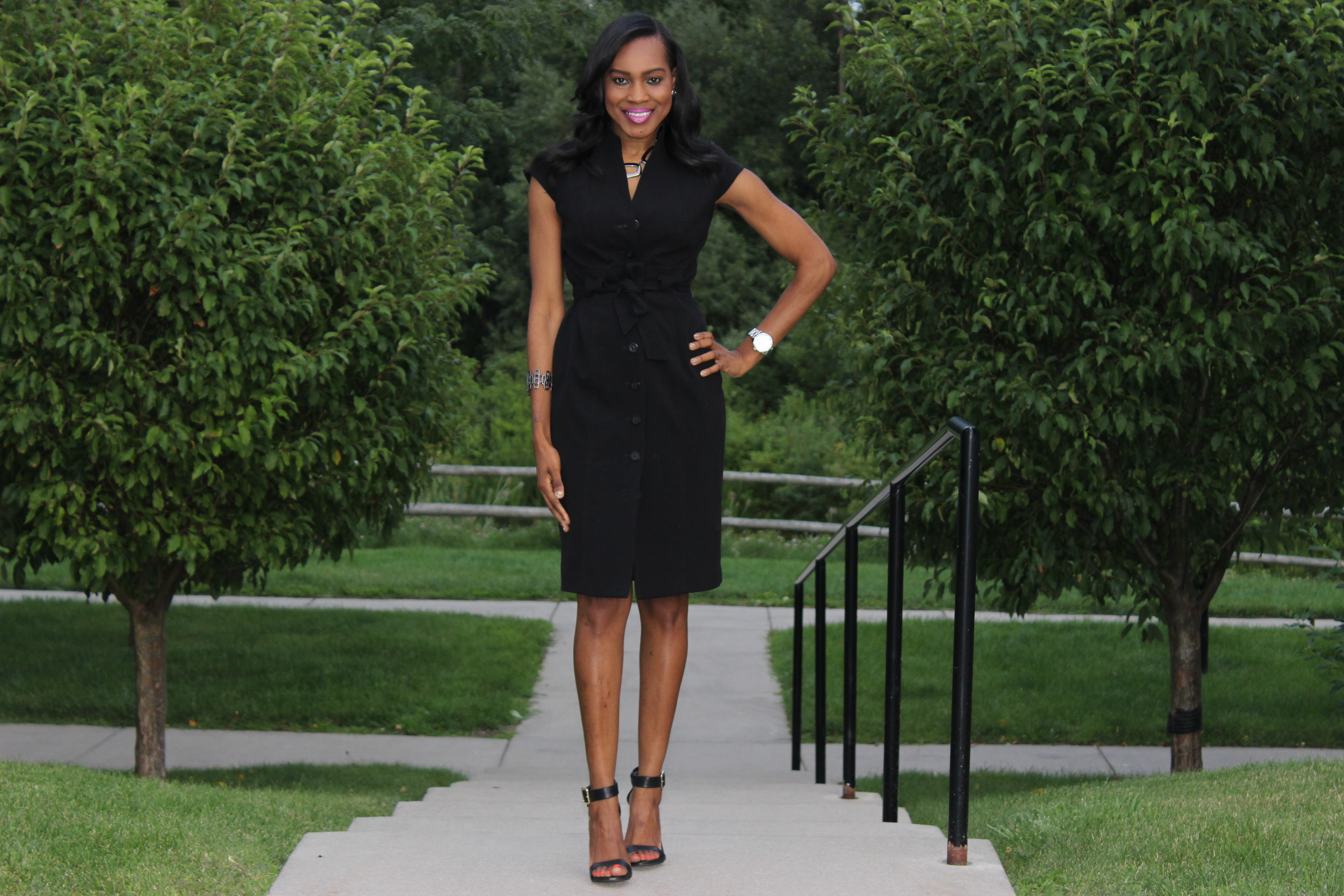Style-Files-With-Pretty-Price-Thrifted-Calvin-klein-Black-button-down-wraP-dress-Calvin Klein-Crepe- Shirt dress-6