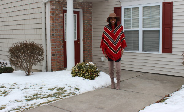 style-files-with-prettyprice-how to wear a poncho-poncho-style-aztec-prrinted-poncho-Just Fab-Aliz-Over-the-knee-boots-brown-wide-brim-hat-