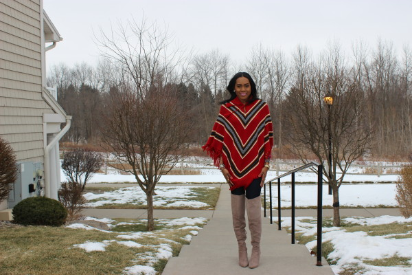 style-files-with-prettyprice-how to wear a poncho-poncho-style-aztec-prrinted-poncho-Just Fab-Aliz-Over-the-knee-boots-brown-wide-brim-hat-4