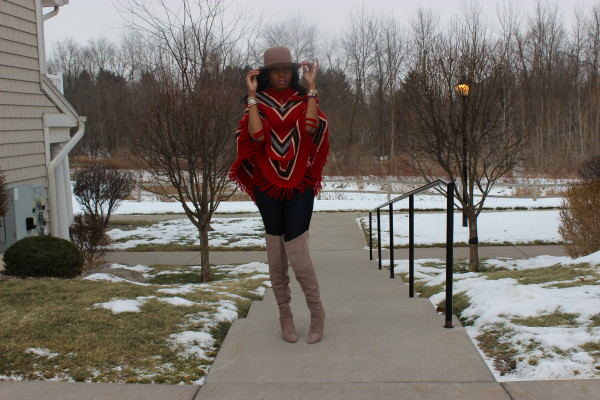 style-files-with-prettyprice-how to wear a poncho-poncho-style-aztec-prrinted-poncho-Just Fab-Aliz-Over-the-knee-boots-brown-wide-brim-hat-9