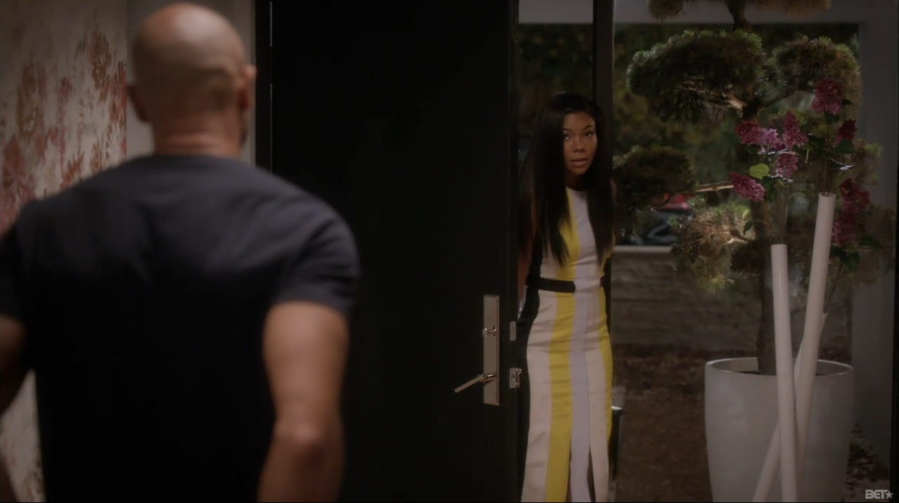 Being-mary-jane-roksanda-ilincic-yellow-wyatt-pleated-crepe-dress-being mary-jane-striped-dress-season-two-episode-six-14