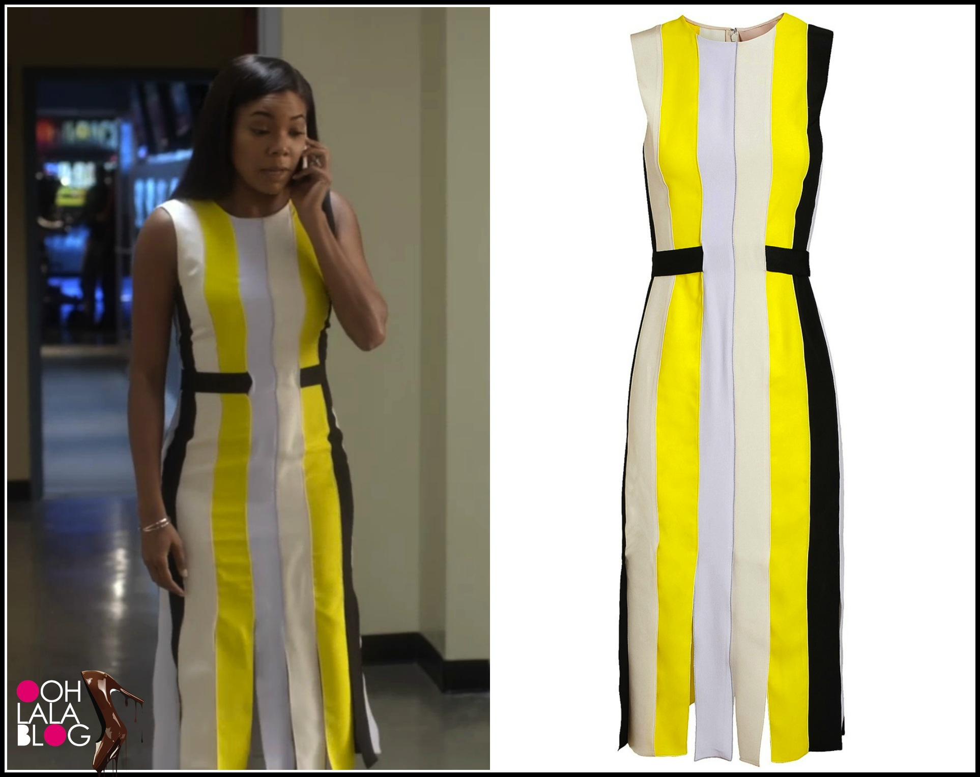 Being-mary-jane-roksanda-ilincic-yellow-wyatt-pleated-crepe-dress-being mary-jane-striped-dress-season-two-episode-six-15