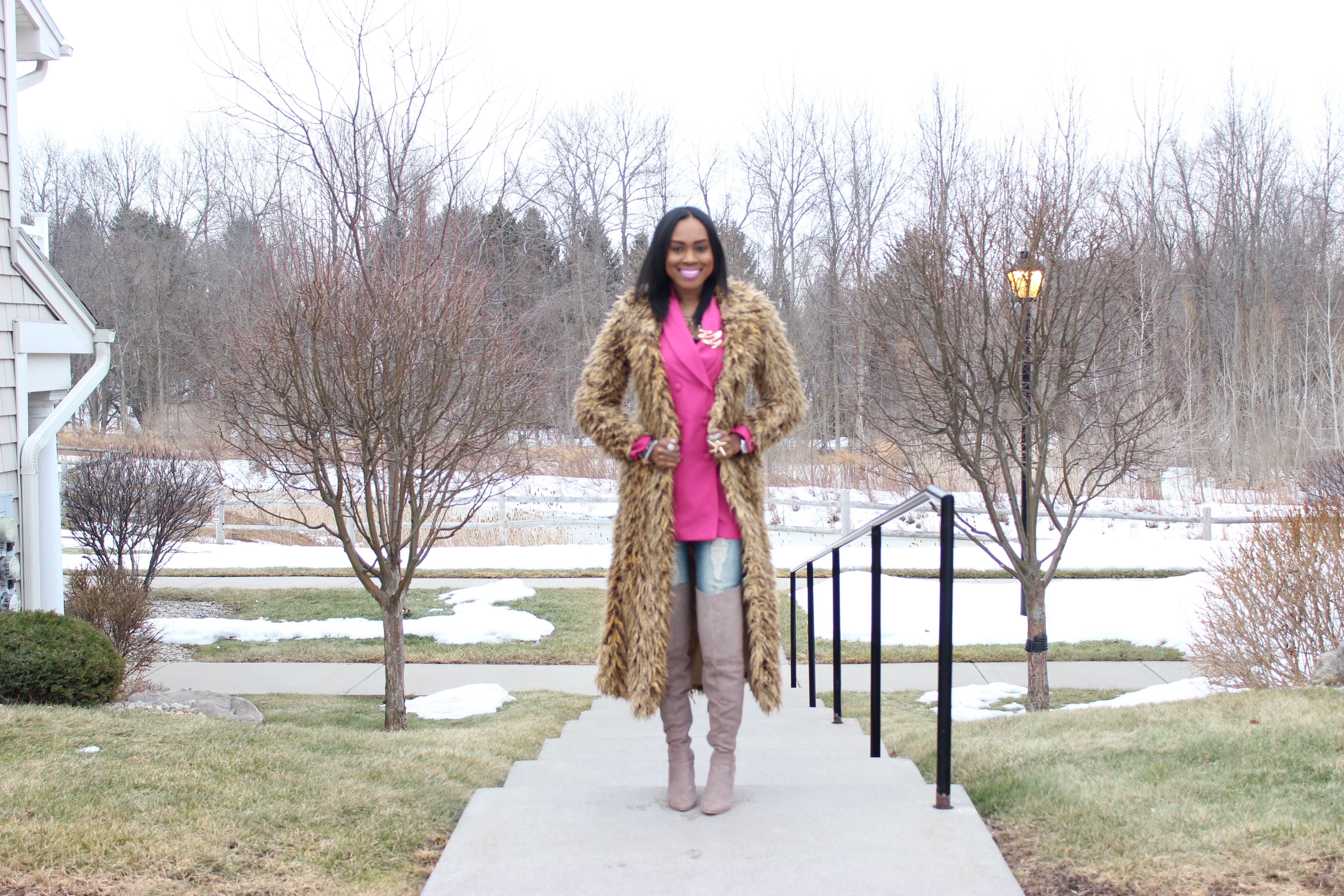 Style-Files-Hot-Pink-Blazer-Distessed-Jeans-Just-fav-over-the-knee-boots-bebe-shaggy-chic-coat-Pretty-Price-10