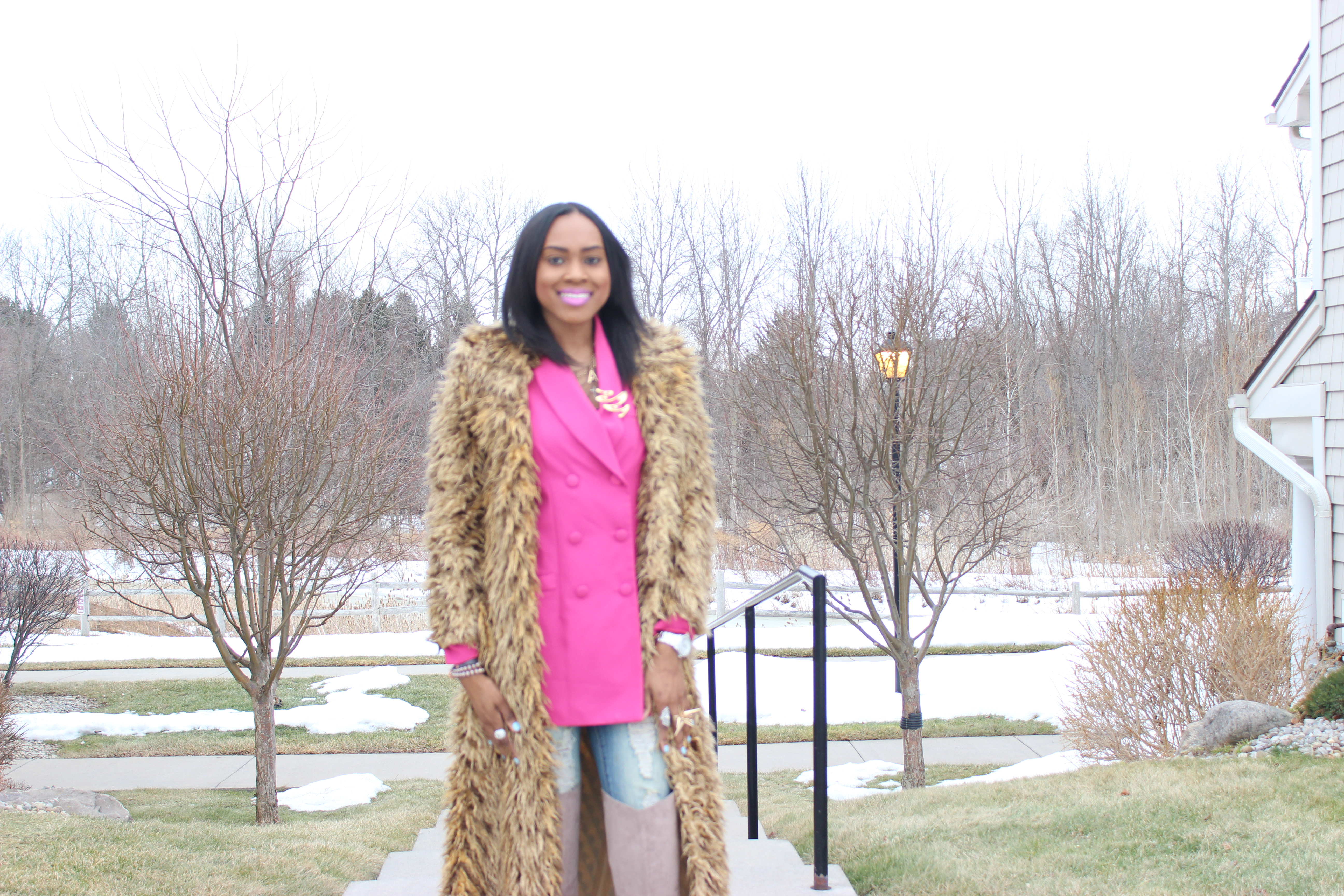 Style-Files-Hot-Pink-Blazer-Distessed-Jeans-Just-fav-over-the-knee-boots-bebe-shaggy-chic-coat-Pretty-Price-13