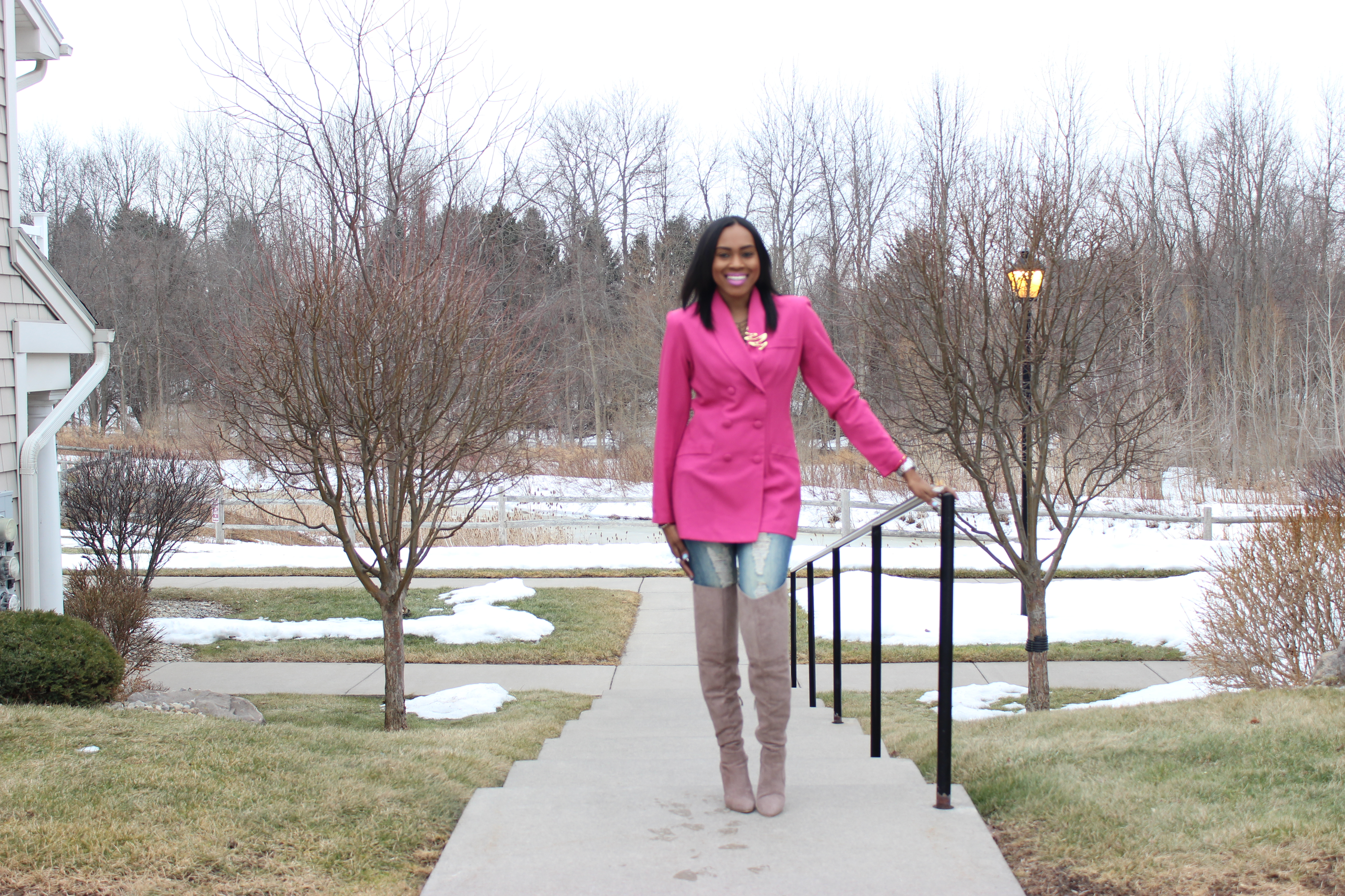 Style-Files-Hot-Pink-Blazer-Distessed-Jeans-Just-fav-over-the-knee-boots-bebe-shaggy-chic-coat-Pretty-Price-4