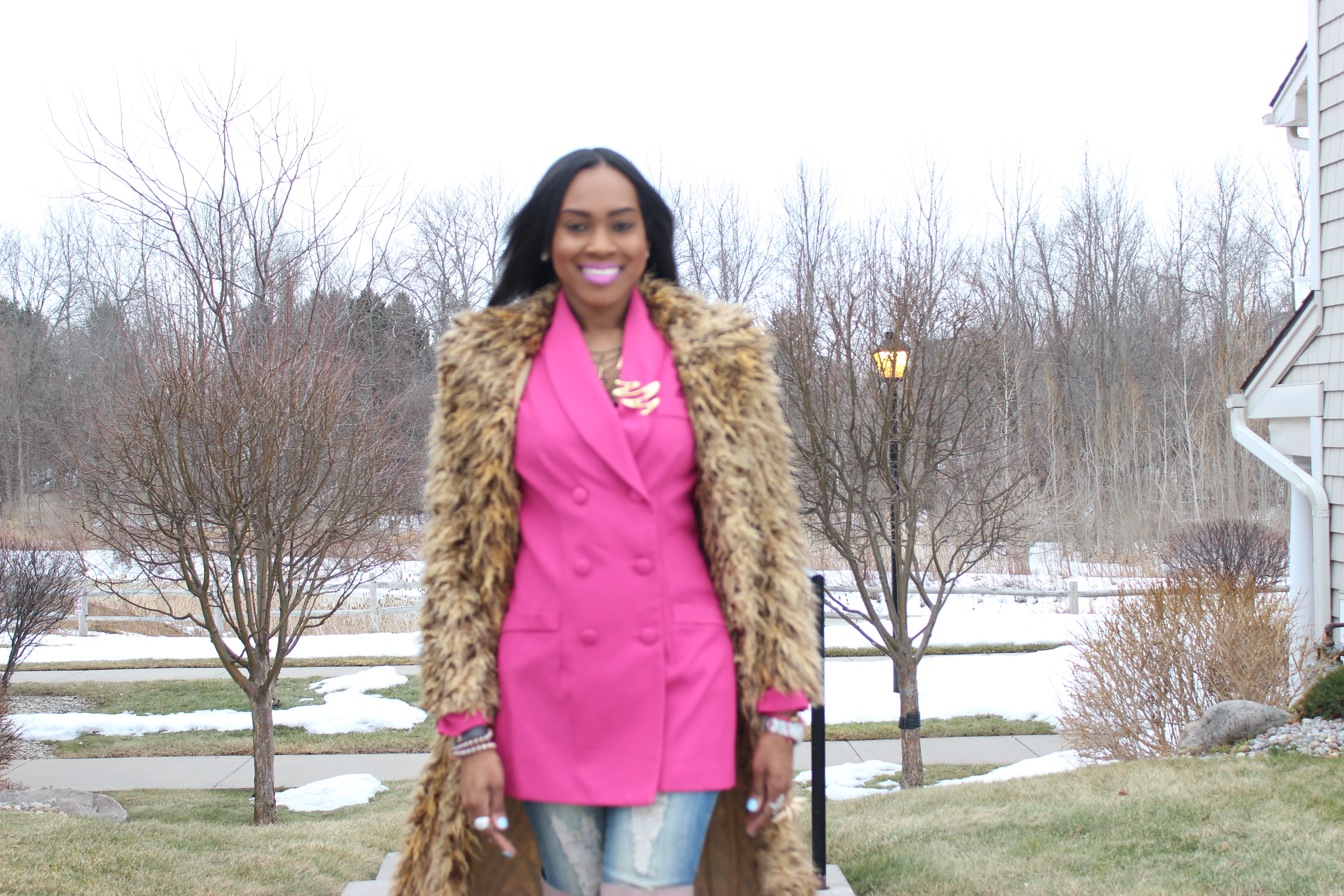 Style-Files-Hot-Pink-Blazer-Distessed-Jeans-Just-fav-over-the-knee-boots-bebe-shaggy-chic-coat-Pretty-Price-8
