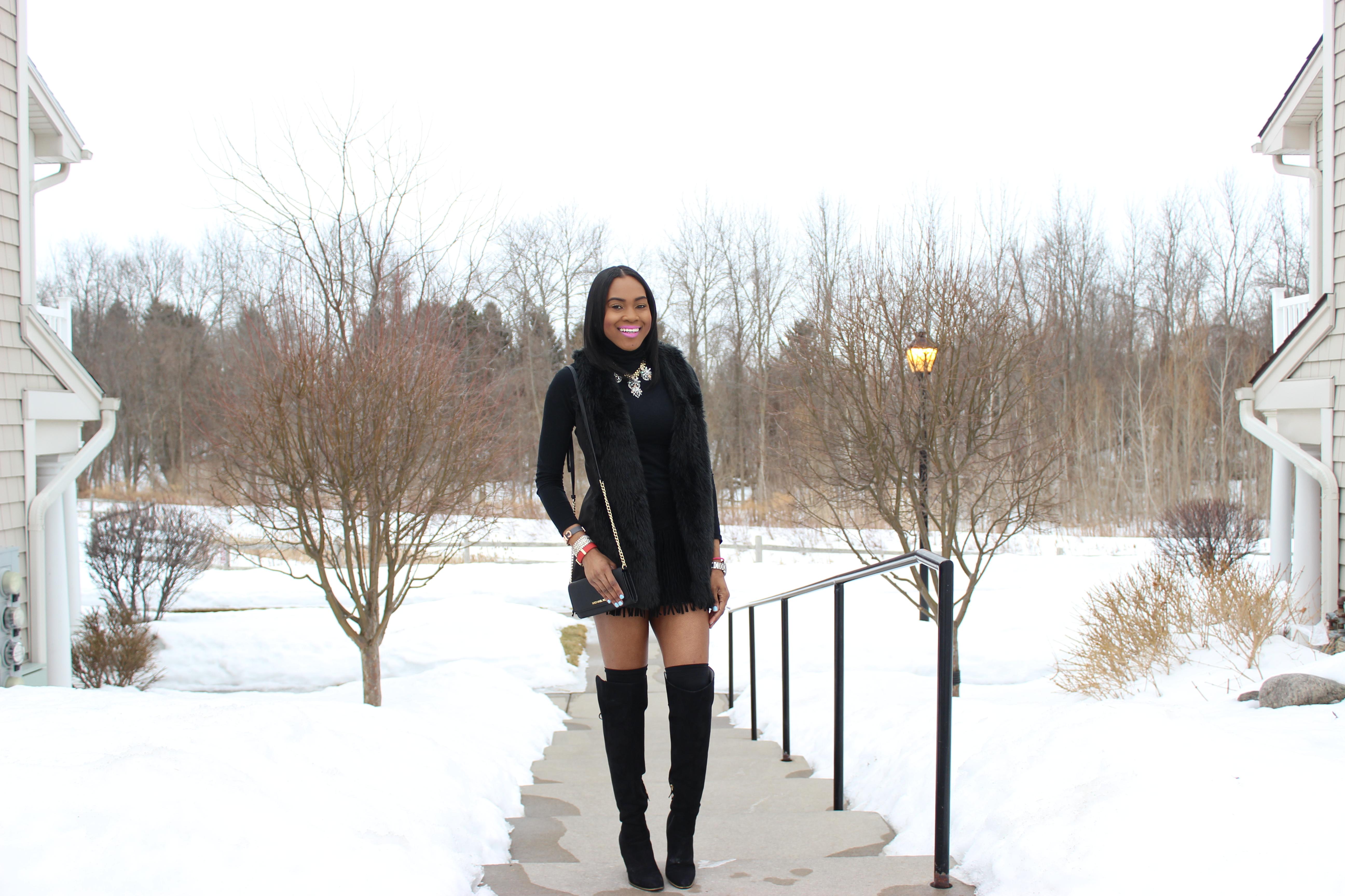 Style-Files-Suede-Fringe-hem-skirt-black-turtleneck-BCBG-Max-Azria- Leather-Sleeve-blazer-Sam-libby-knee-high-boots-Mossimo-faux-fur-vest-5