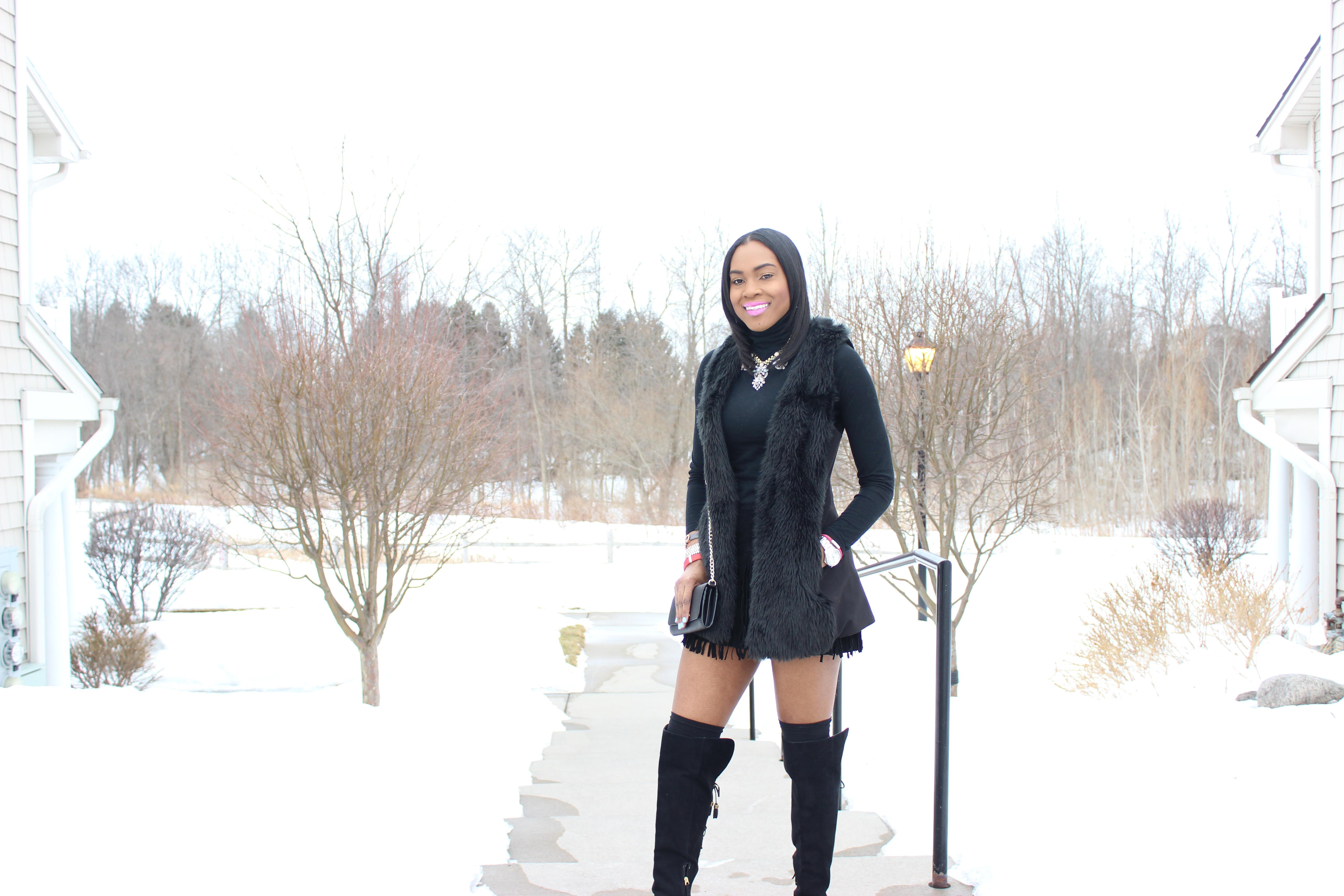 Style-Files-Suede-Fringe-hem-skirt-black-turtleneck-BCBG-Max-Azria- Leather-Sleeve-blazer-Sam-libby-knee-high-boots-Mossimo-faux-fur-vest-6