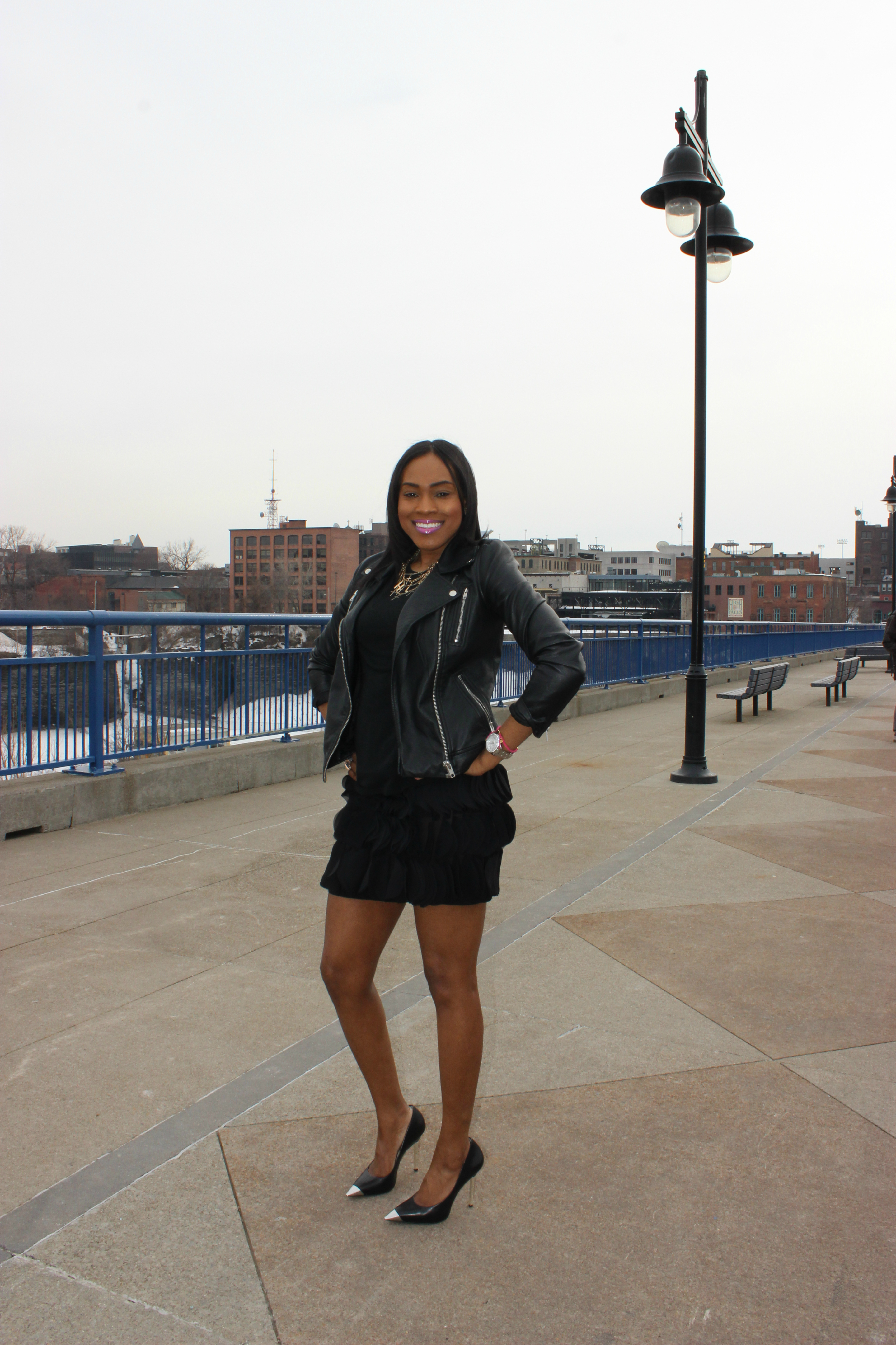 Style-files-Pretty-Price-Black -Moto-Jacket-Michael Kors-Silve-heel-PumPs-Thrifted-Skirt-Oohlalablog-