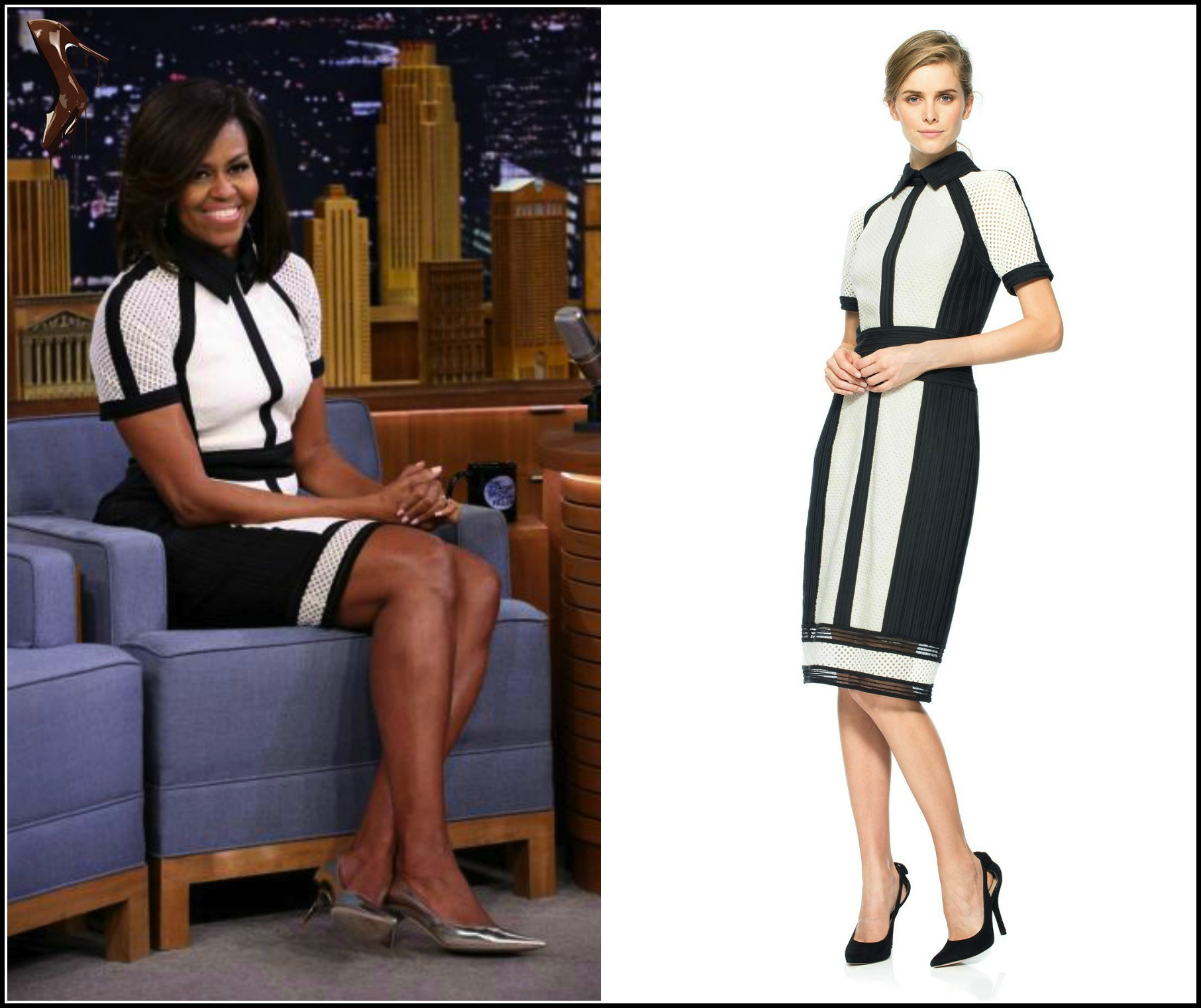 Michelle-Obama- Styles-In-Black-and-White-Tadashi-Shoji- Crochet-Embroidered-Knit- Collared-Dress- Takes-To-The-Dance-Floor-With- Jimmy-Fallon-and Celebrates-The-5th- Year-of-Lets-Move Campaign-On-The- Tonight-Show-7