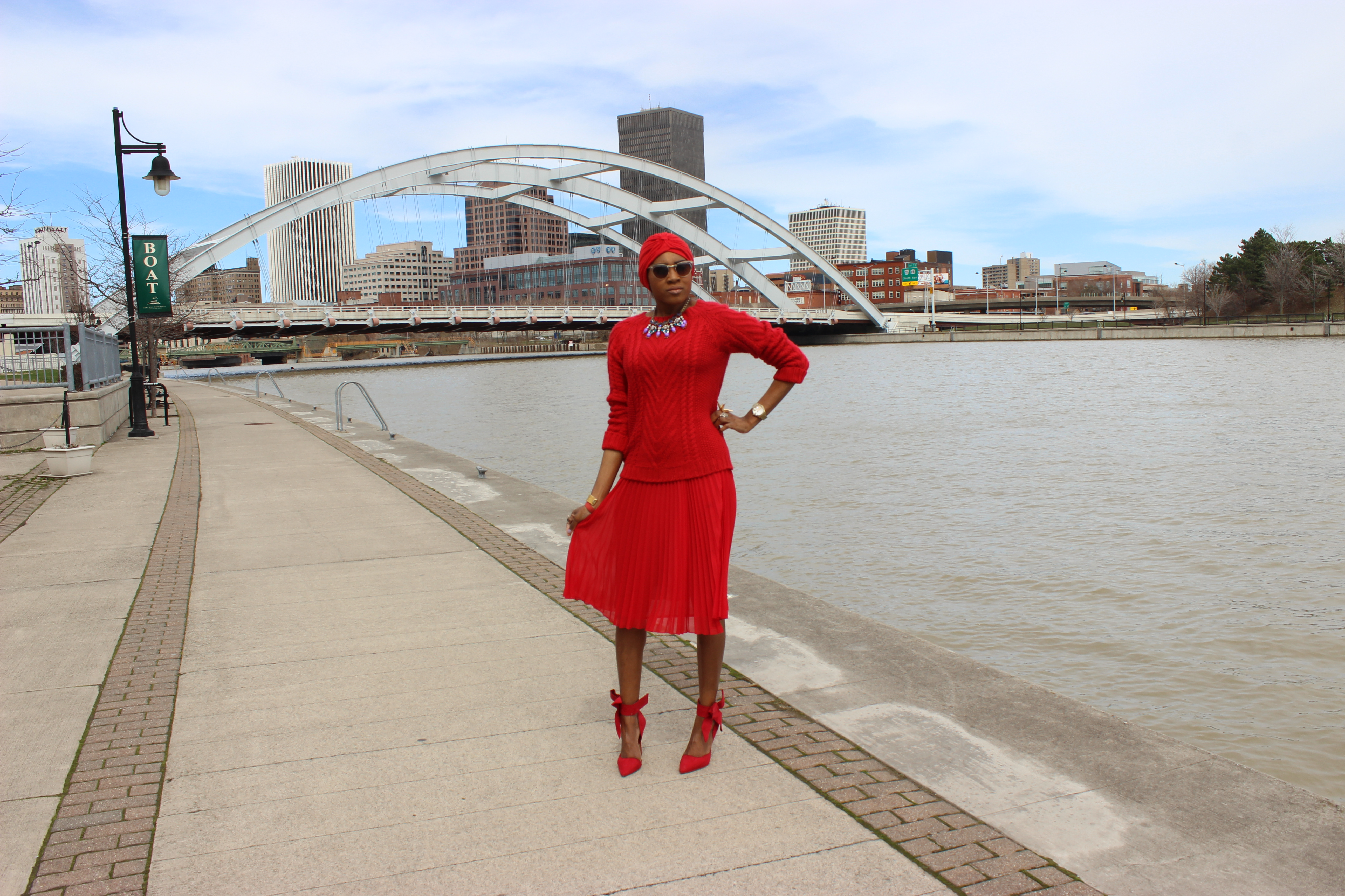 style-files-jcpenney-MNG-red-pleated-skirt-joe-fresh-red-cable-knit-sweater-Just-Fab-Hadley-red-bow-pumps-red-turban-oohlalablog-