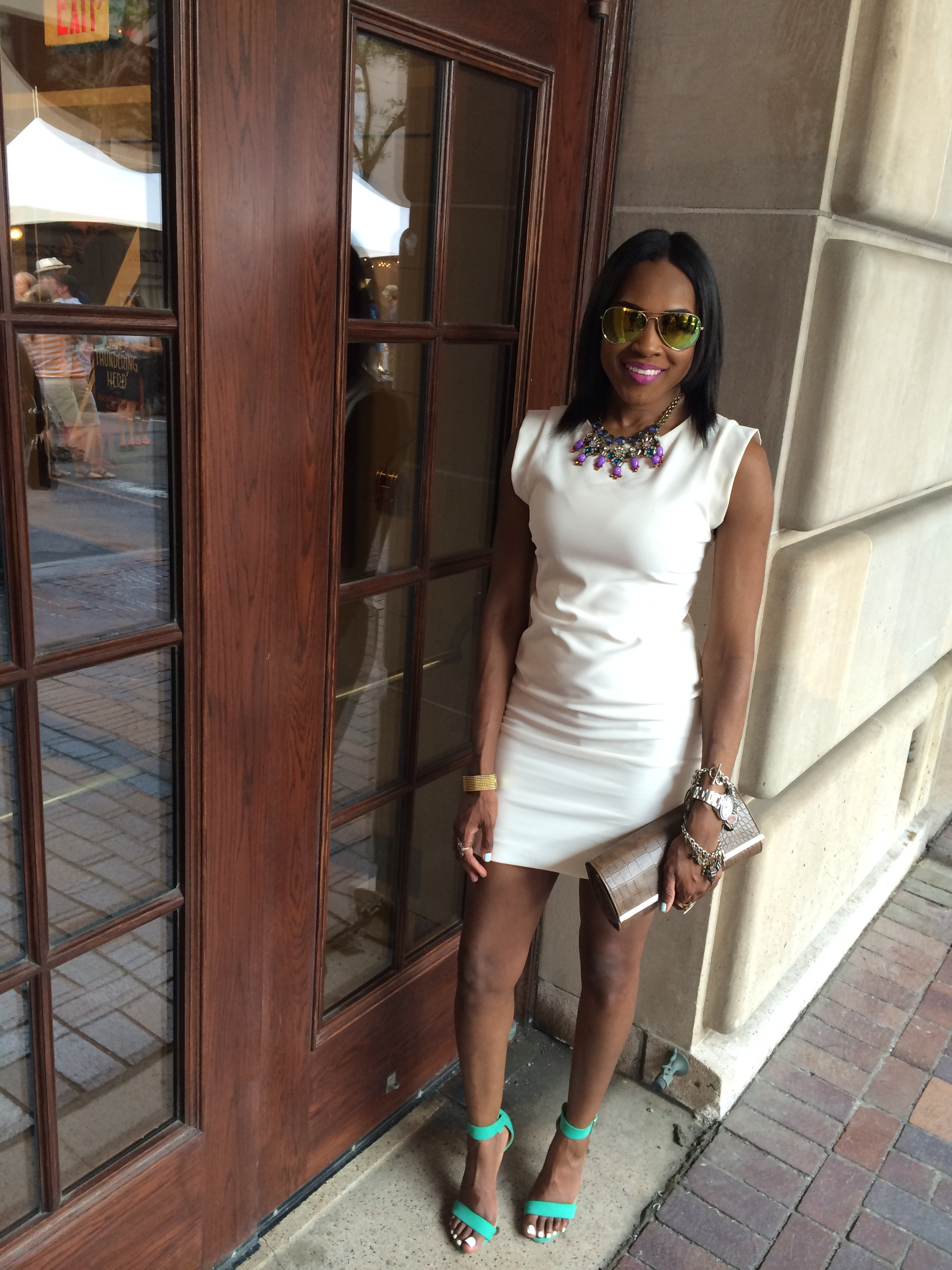 Style-files-white-one-clothing-sheath-dress-just-fab-Paean-seamfoam-mint-green-ankle-strap-sandals-forever-21-white-ruffled-coat-forever-21-mirrored-tint-sunglasses-birthday-behavior-jday-oohlalablog-