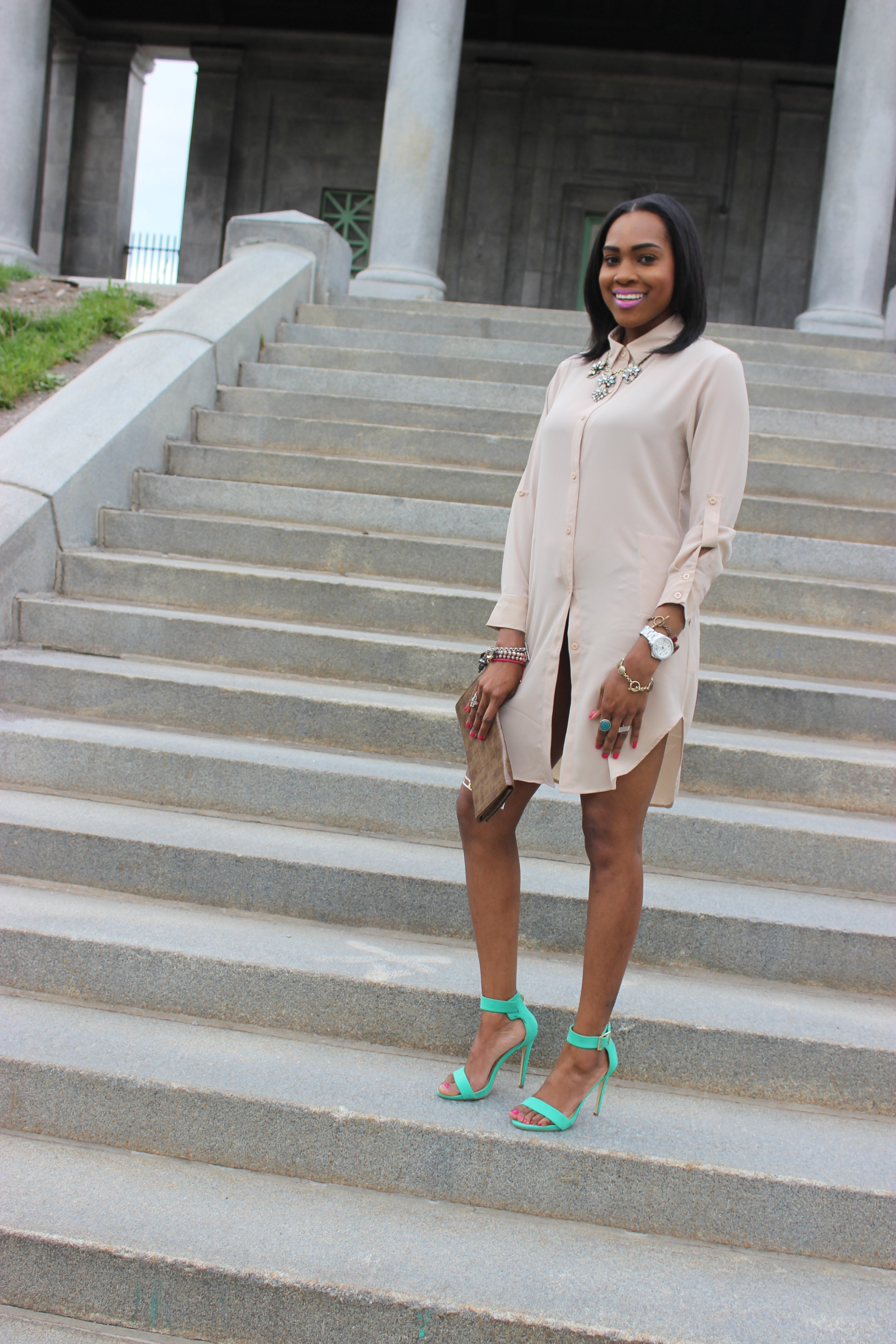Style-Files-with-Pretty-Price-TJMaxx-Nude-Shirt-Dress-Nude-Tunic-just-fab-Paean-seamfoam-mint-green-ankle-strap-sandals-forever-21-distressed-cut-off-shorts-Pink-turban-justfab-Taesha-leopard-print-lace-up-heel-sandals-6