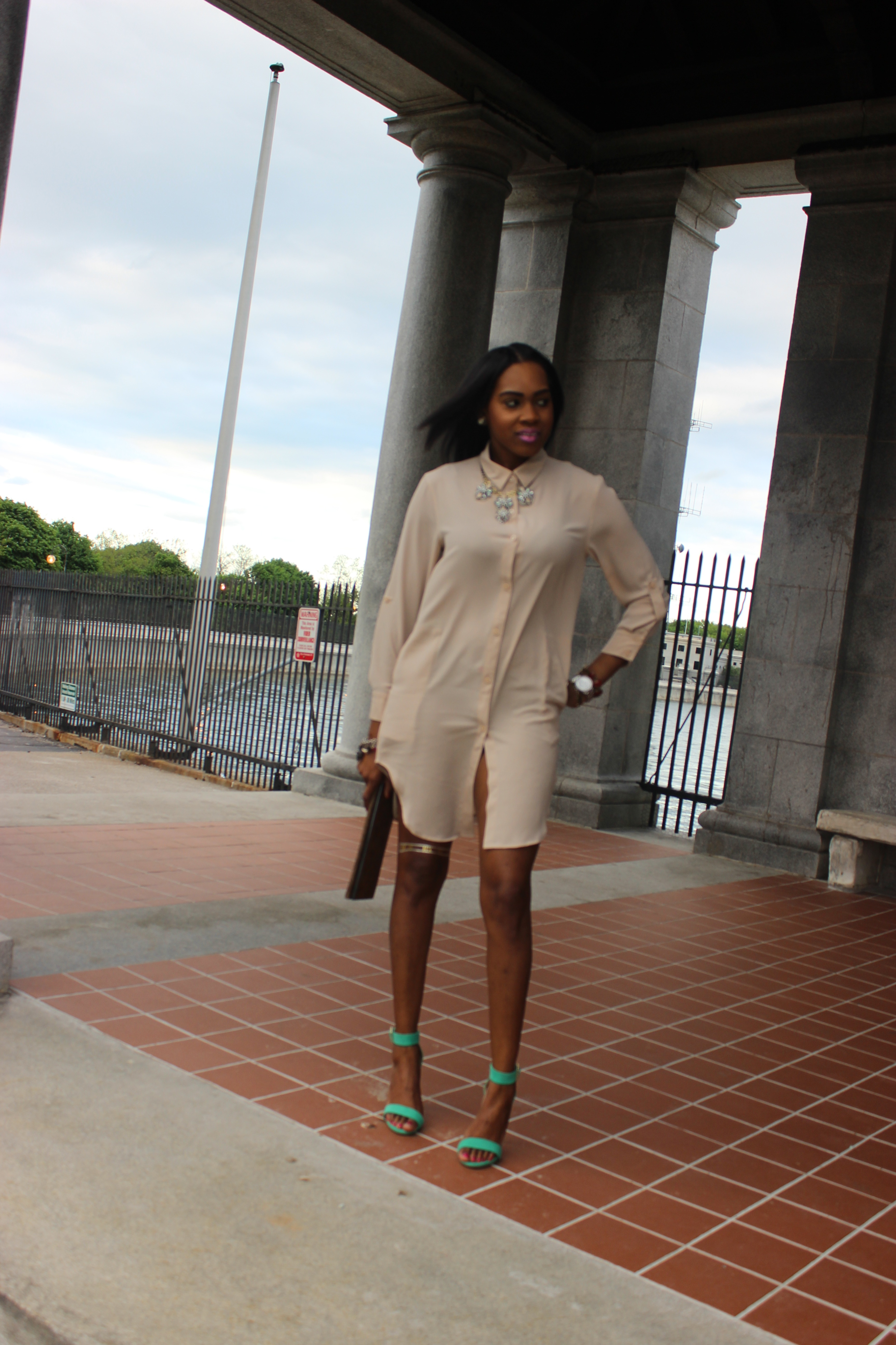 Style-Files-with-Pretty-Price-TJMaxx-Nude-Shirt-Dress-Nude-Tunic-just-fab-Paean-seamfoam-mint-green-ankle-strap-sandals-forever-21-distressed-cut-off-shorts-Pink-turban-justfab-Taesha-leopard-print-lace-up-heel-sandals-8