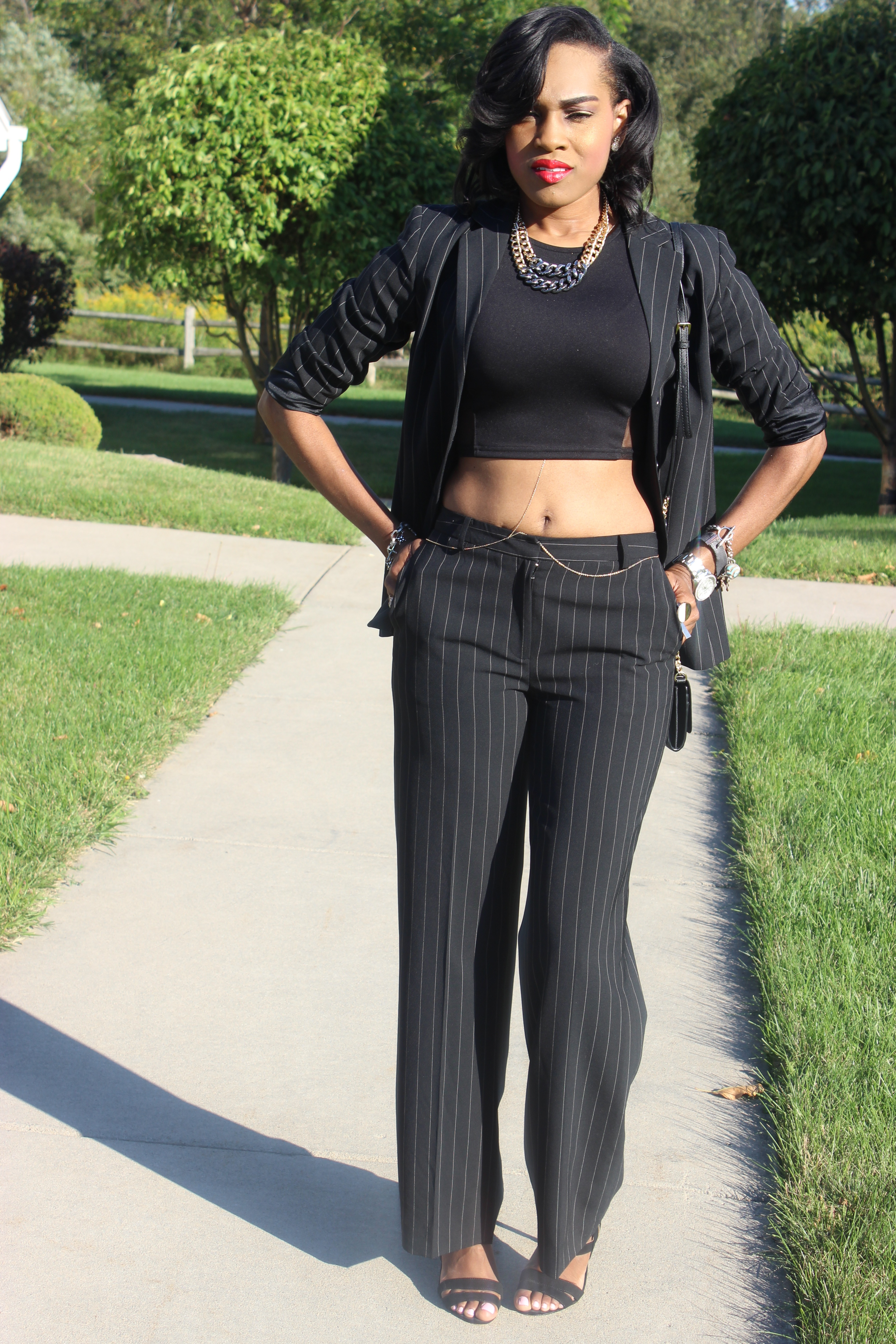 Style-Files-With-Pretty-Price-How-to-wear-a-Pinstripe-Suit-Black-white-casual-coners-thrifted-pant-suit-black-mesh-forever-21-mesh-crop-top-Just-Fab-Florence-Heels-2