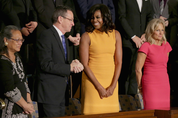 Michelle-Obama-wears-Narciso-Rodriguez-Marigold-Sleeveless-banded-bodice-midi-dress-2016-state-of-the-union-address-2