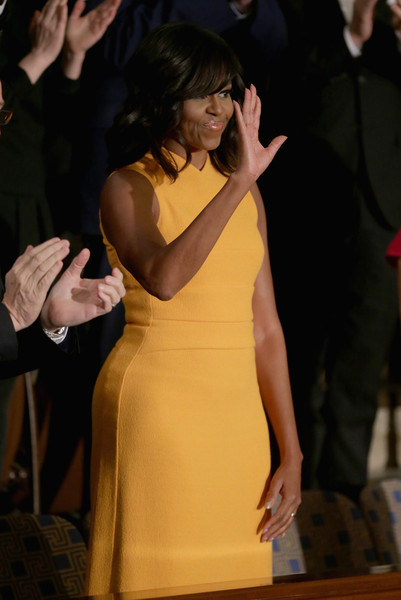 Michelle-Obama-wears-Narciso-Rodriguez-Marigold-Sleeveless-banded-bodice-midi-dress-2016-state-of-the-union-address-3