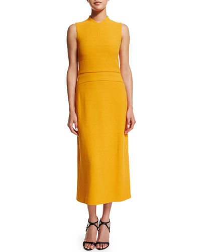 Michelle-Obama-wears-Narciso-Rodriguez-Marigold-Sleeveless-banded-bodice-midi-dress-2016-state-of-the-union-address-5