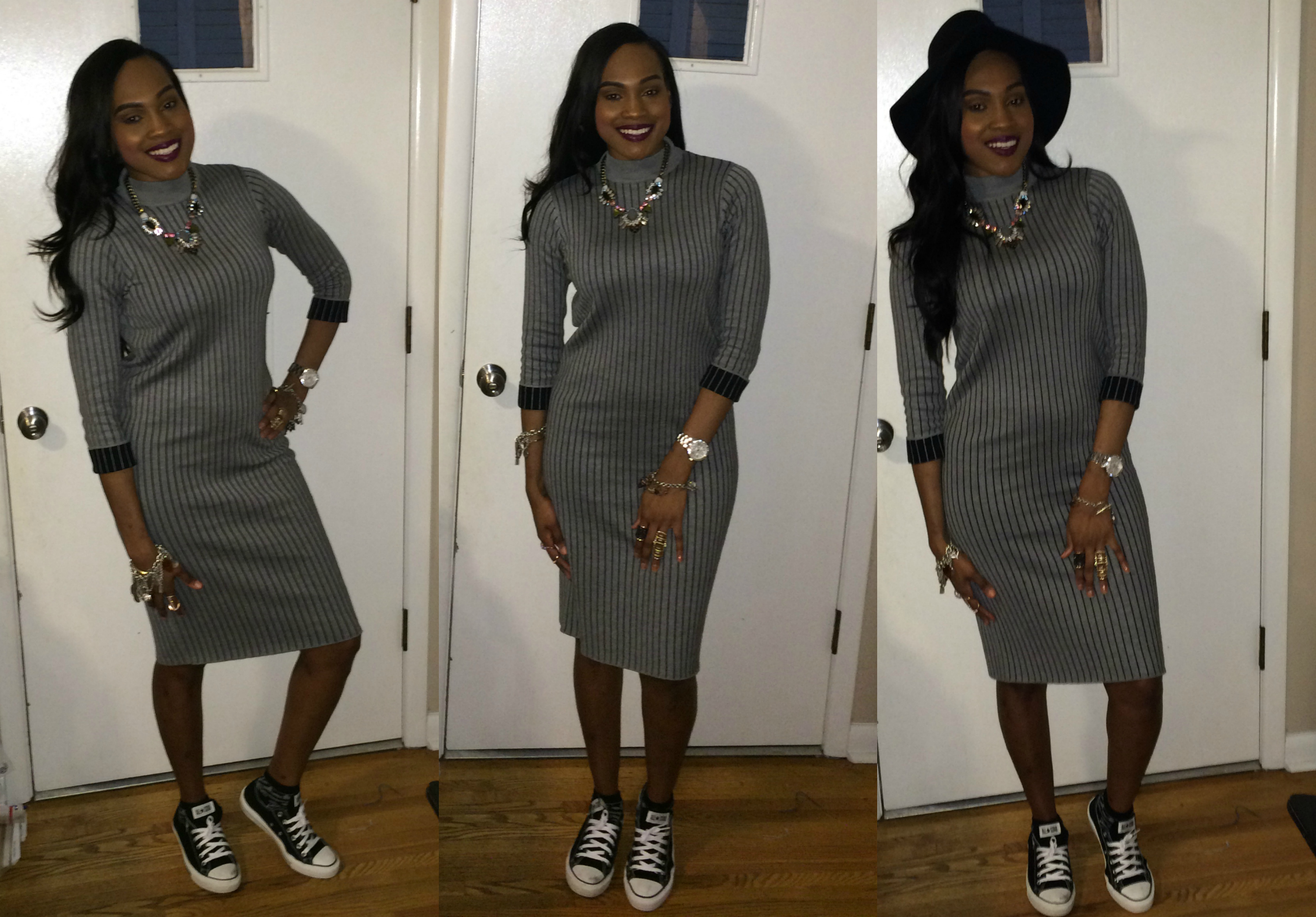 Style-Files-PrettyPrice-FOREVER 21-CONTEMPORARY-PINSTRIPED-SWEATER- SHIFT-DRESS-Black-Converse-OohLaLablog-2