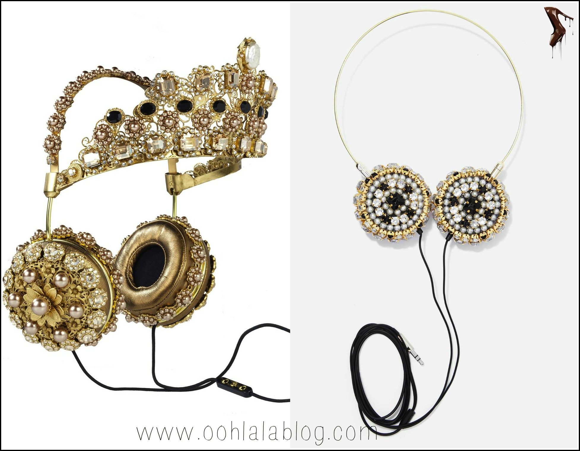1Rihanna-Instagam-FRENDS-Dolce-Gabbana-Embellished-Leather Headphones-with Gold-Crown-13