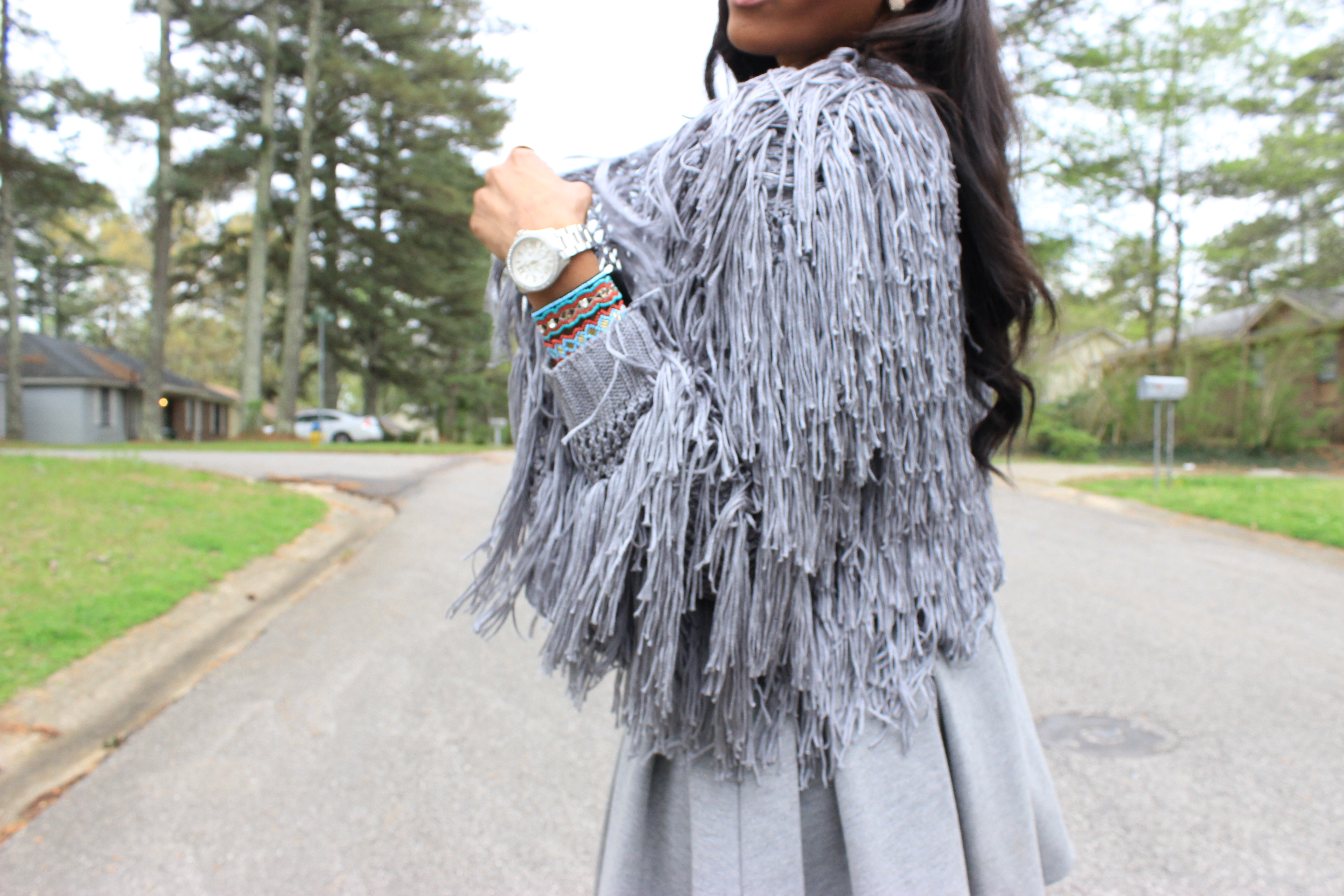 Forever-21-Fringed Open-Knit- Cardigan-Target-Merona-Skater-Skirt-Merona-Pleated-skirt-target merona Modernist Skirt-Taget-sequin-clutch-Nasty Gal On A Level Heel - Nude-MAC-Cosmetics-Lipstick-Faux-Oohlalablog-12