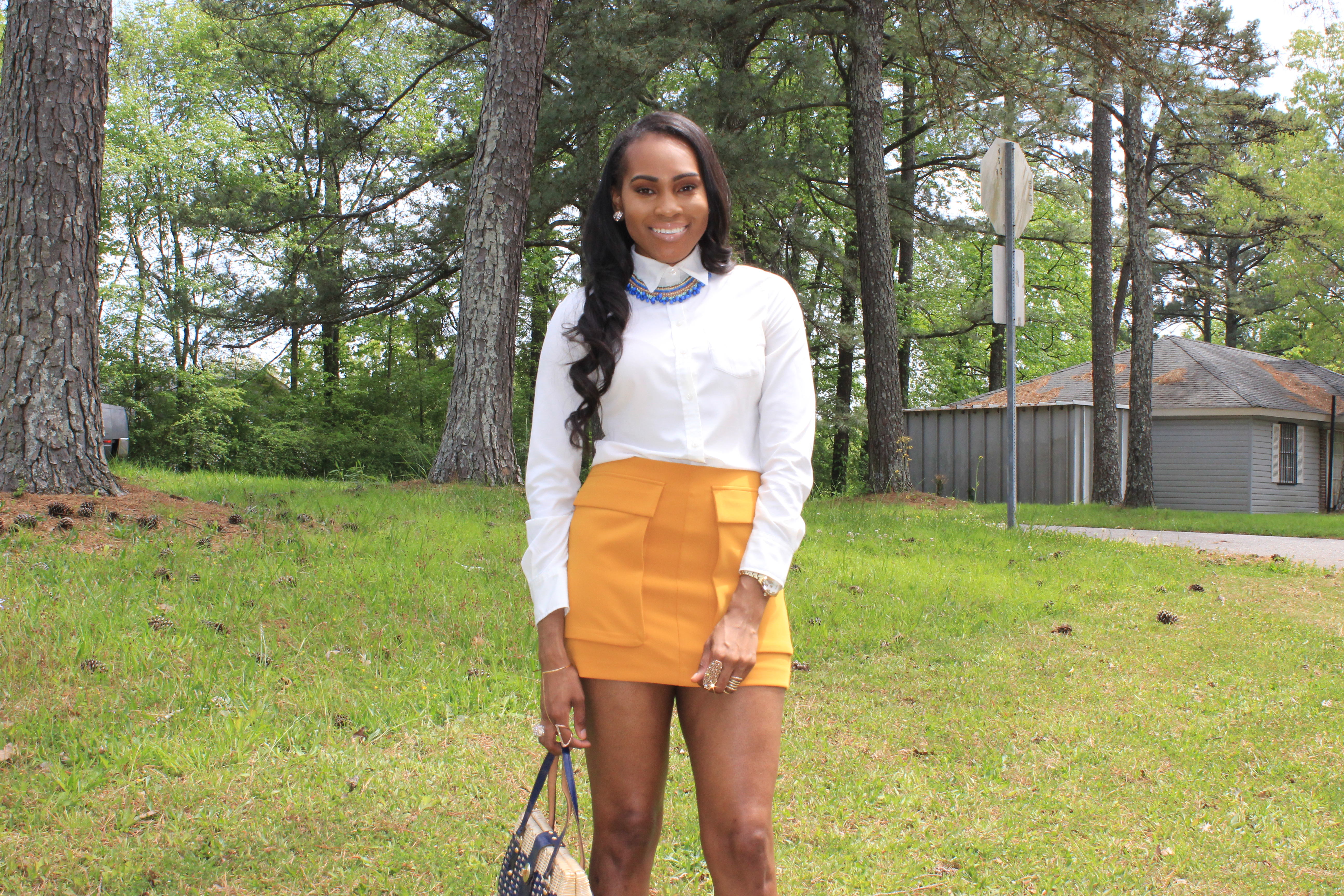 Style-Files-Forever21-Mustard-Yellow-Flap Pockets-Mini-Skirt-Yellow-Mini-Skirt-Target-Merona-White-Blouse-Mossimo-Ankle-Strap-Tan-Nude-Patent-Leather-sandals-oohlalablog-3