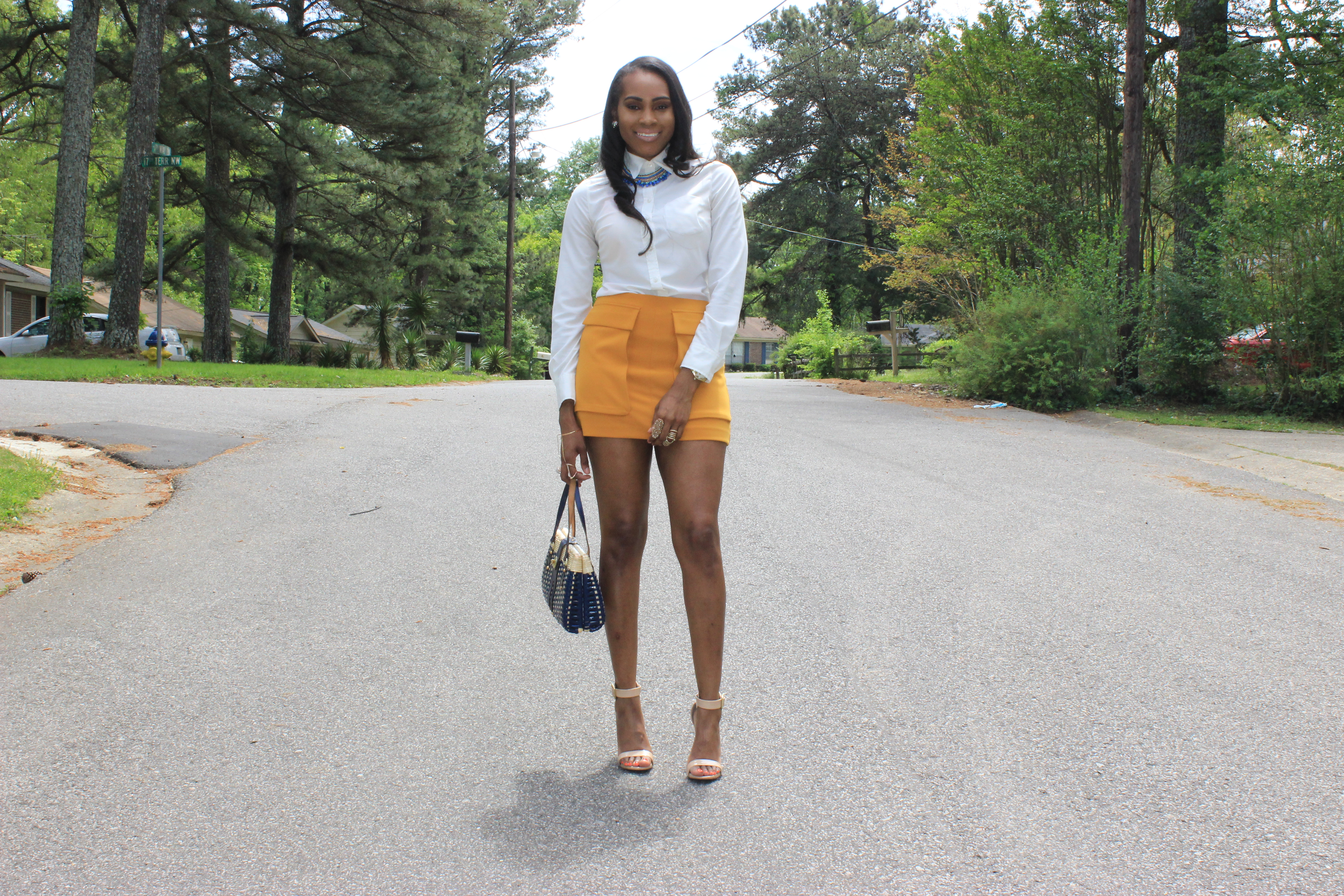 Style-Files-Forever21-Mustard-Yellow-Flap Pockets-Mini-Skirt-Yellow-Mini-Skirt-Target-Merona-White-Blouse-Mossimo-Ankle-Strap-Tan-Nude-Patent-Leather-sandals-oohlalablog-6