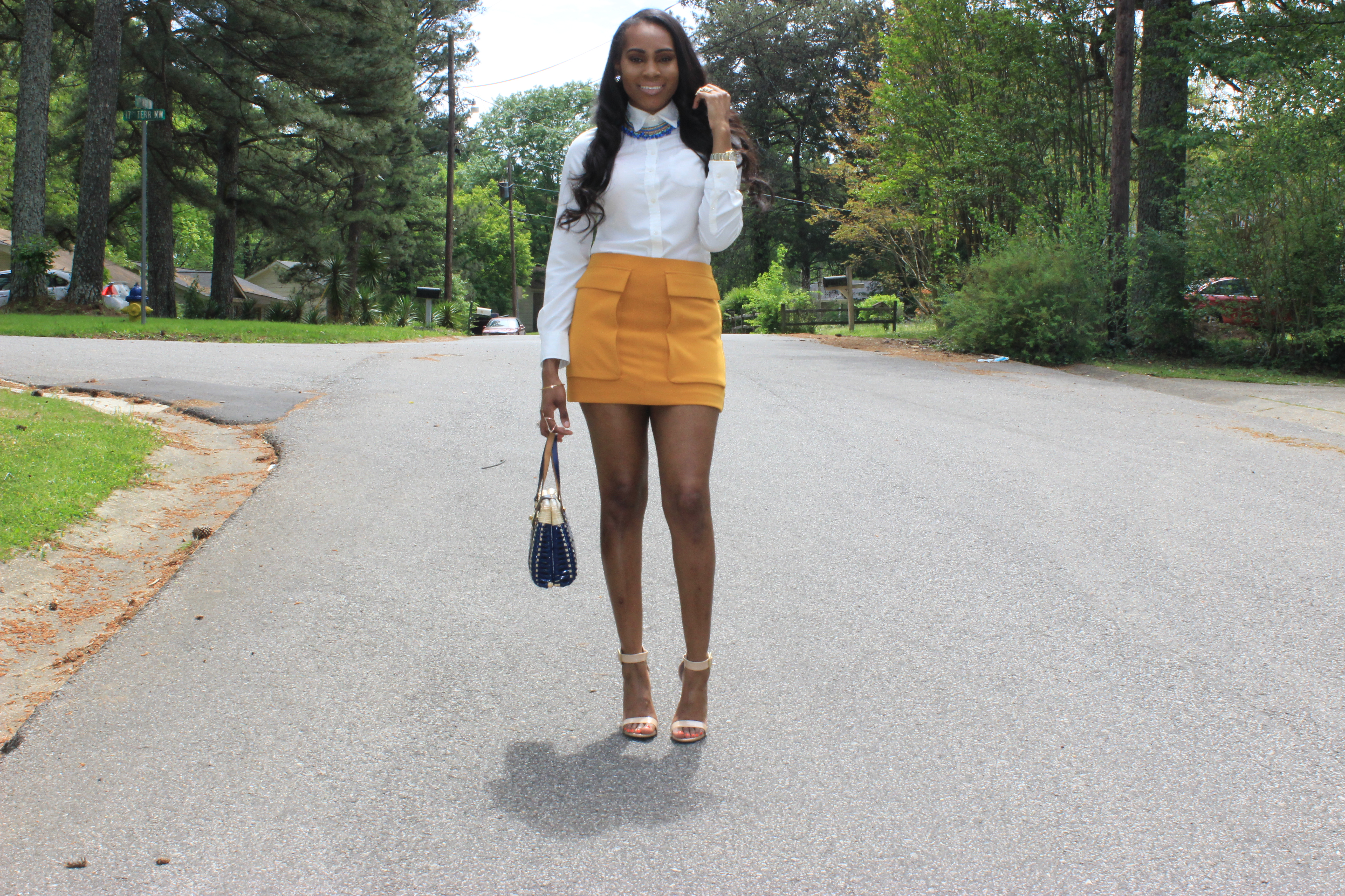 Style-Files-Forever21-Mustard-Yellow-Flap Pockets-Mini-Skirt-Yellow-Mini-Skirt-Target-Merona-White-Blouse-Mossimo-Ankle-Strap-Tan-Nude-Patent-Leather-sandals-oohlalablog-8