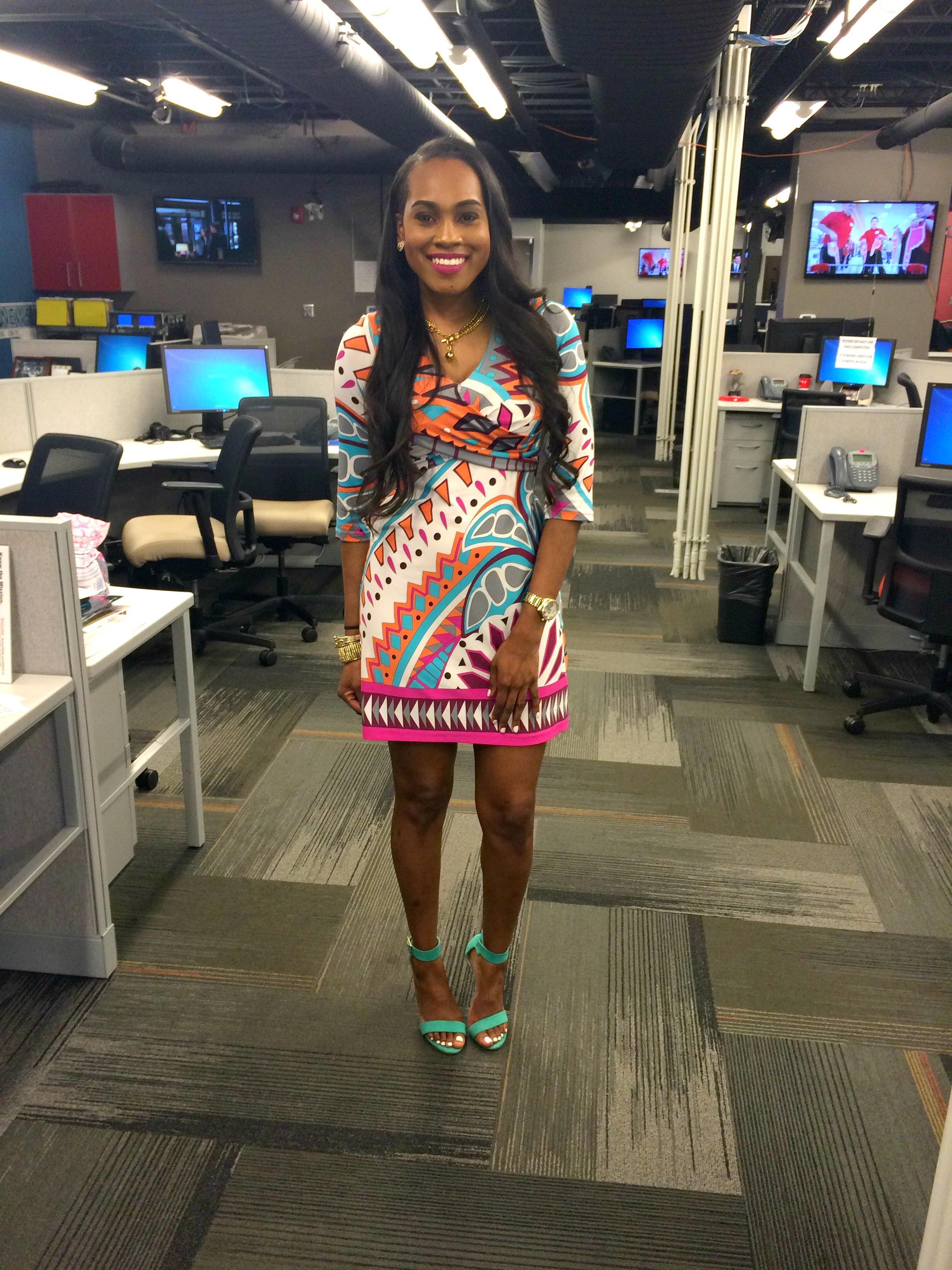 Style-Files-Thrifted-Tracy -Negoshian-Printed-Dress-Justfab-SeaFoam-Green-Heel-Sandals-1