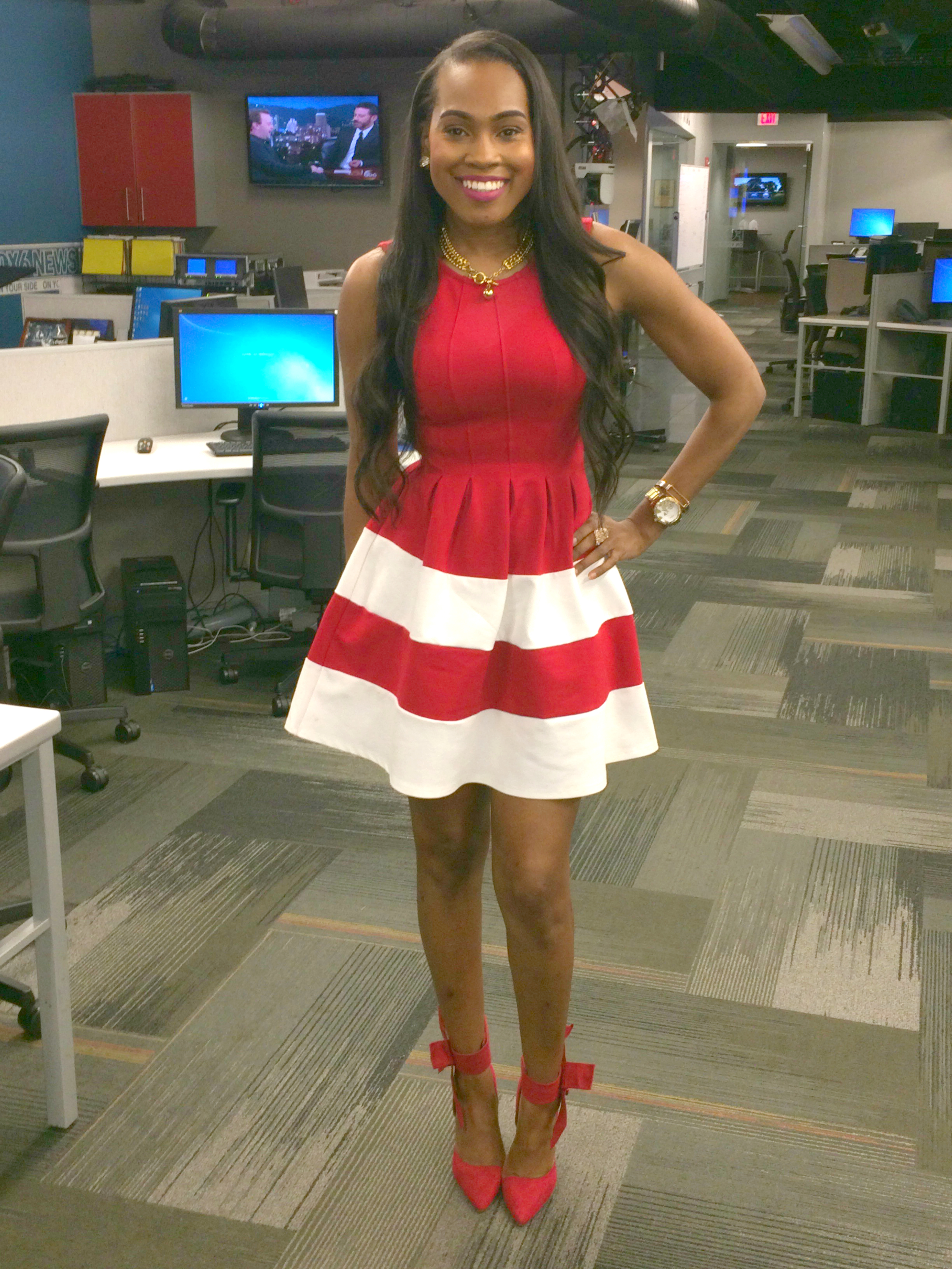 Style-Files-monteau los angeles-red-skater-style-dress-with-red- white- Stripe-Hemline-3-1