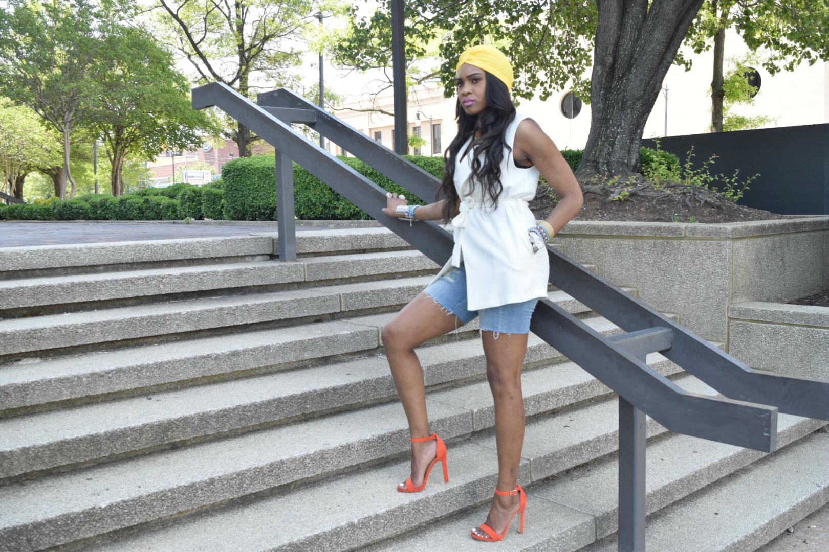 Style-Files-Forever 21-White-Longline Belted-Vest-Mossimo-Denim-Distressed--shorts-Justfab-Orange-heel-kati-sandals-yellow-turban-mirror-sunglasses-oohlalablog-