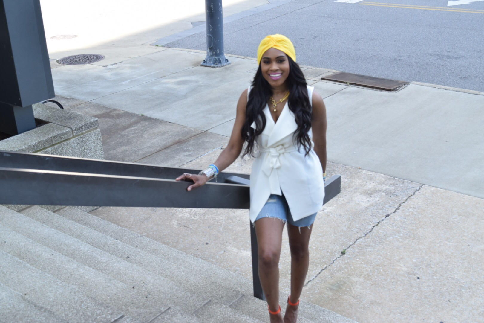 Style-Files-Forever 21-White-Longline Belted-Vest-Mossimo-Denim-Distressed--shorts-Justfab-Orange-heel-kati-sandals-yellow-turban-mirror-sunglasses-oohlalablog-12